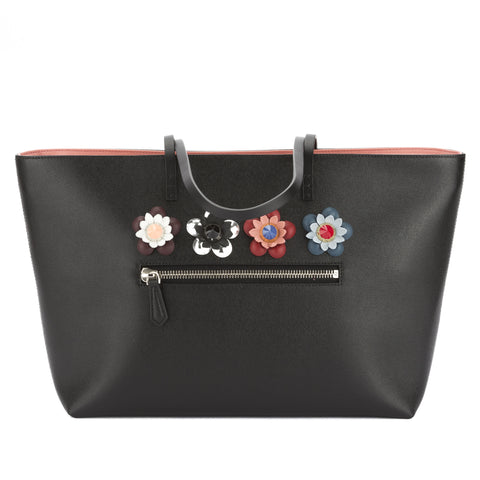 Fendi Black Leather Flower Embellished Medium Roll Bag (New with Tags)