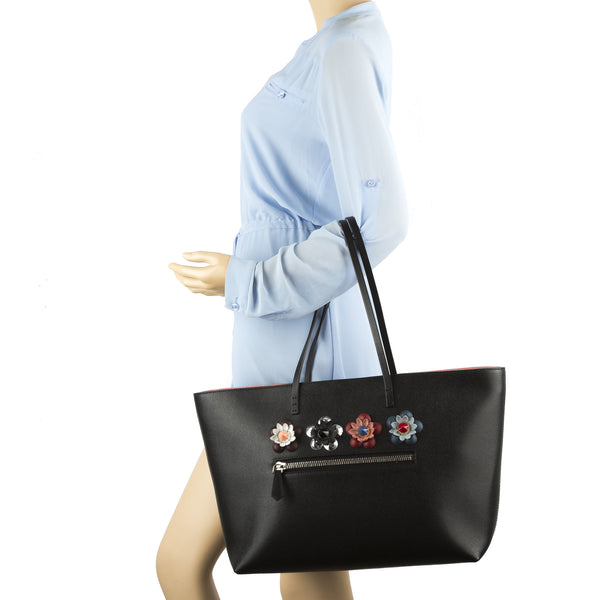 479d3d5140e ... Fendi Black Leather Flower Embellished Medium Roll Bag (New with Tags)