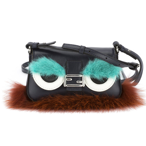 Fendi Dark Blue Leather Micro Monster Baguette (New with Tags)