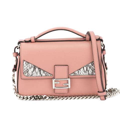 Fendi Pink Leather Double Micro Monster Baguette (New with Tags)