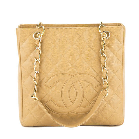 Chanel Beige Caviar Leather Petit Shopping Tote PST Bag (Pre Owned)