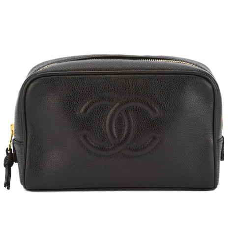 Chanel Black Caviar Leather COCO Mark Cosmetic Pouch (Pre Owned)