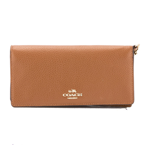 Coach Saddle Pebble Leather Slim Wallet (New with Tags)