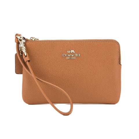 Coach Saddle Crossgrain Leather Corner Zip Wristlet (New with Tags)
