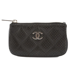 Chanel Black Quilted Calfskin Leather Matelasse Punching Coin Case (Pre Owned)