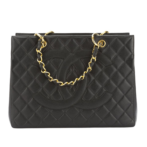 Chanel Black Caviar Leather Chain Tote Bag (Pre Owned)