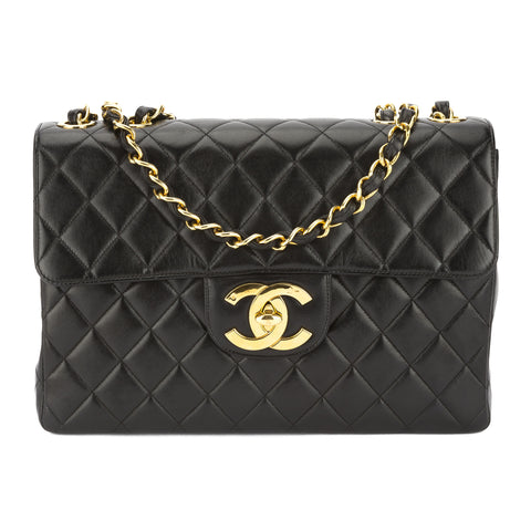 Chanel Black Quilted Lambskin Leather Jumbo Single Flap Bag (Pre Owned)
