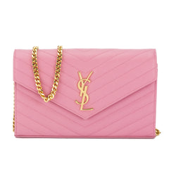 Saint Laurent Pink Grain De Poudre Textured Leather Matelasse Monogram Medium Chain Wallet (New with Tags)