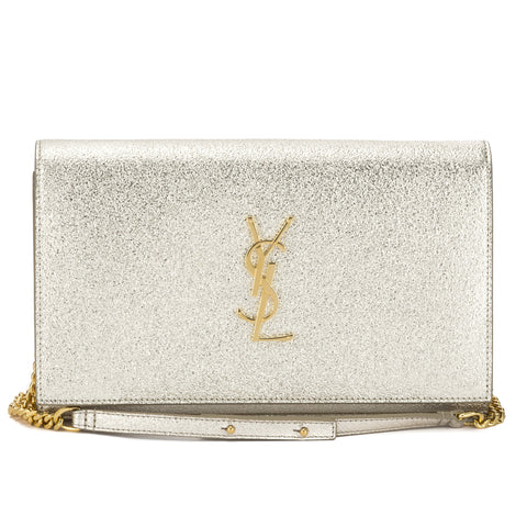 Saint Laurent Silver Grained Metallic Leather Monogram Chain Wallet (New with Tags)