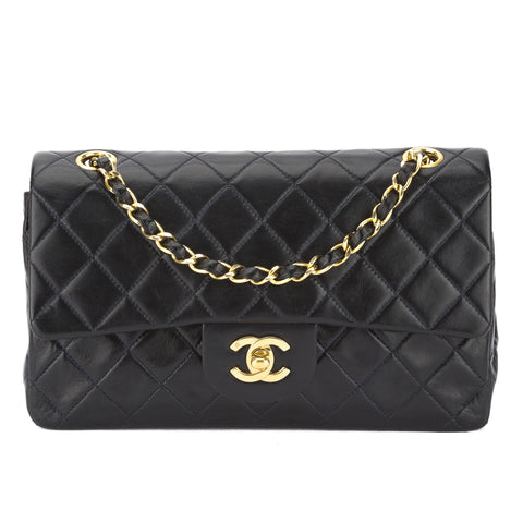 Chanel Navy Blue Quilted Lambskin Leather Small Double Flap Chain Bag (Pre Owned)