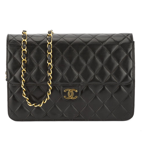 Chanel Black Quilted Lambskin Leather Single Flap Chain Bag (Pre Owned)