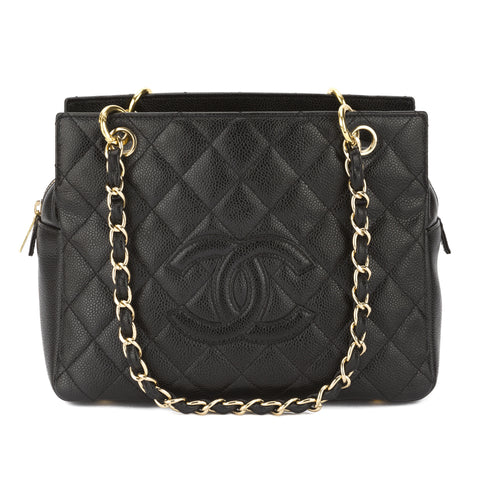 Chanel Black Quilted Caviar Leather Petit Timeless Tote PTT Bag (Pre Owned)