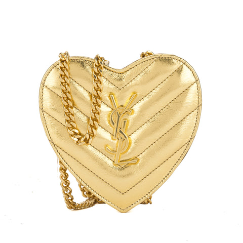 Saint Laurent Gold Metallic Leather Matelasse Small Love Heart Chain Bag (New with Tags)
