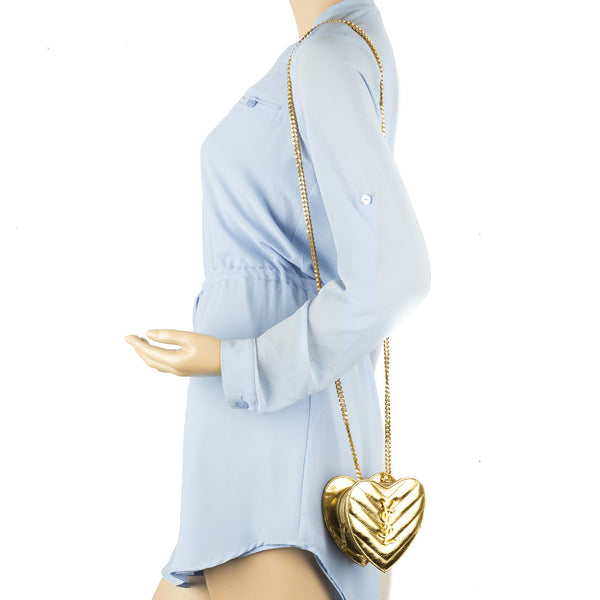 e2c25fb220 Yves Saint Laurent Saint Laurent Gold Metallic Leather Matelasse Small Love  Heart Chain Bag New with Tags