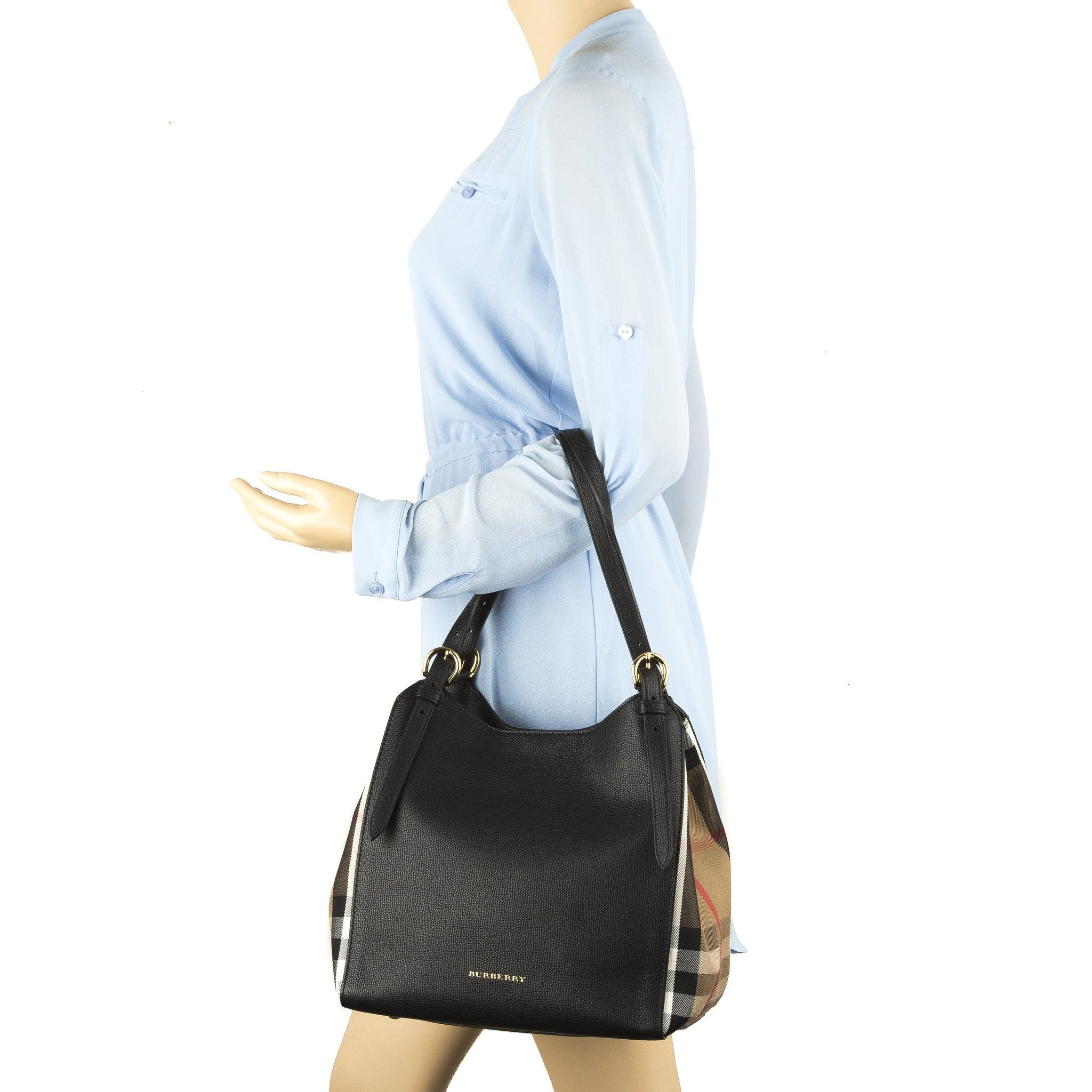 4c35389be572 ... Burberry Black Leather and House Check Small Canter Tote Bag (New with  Tags). +  +  +  +  +  +  +  +  +  +. PrevNext