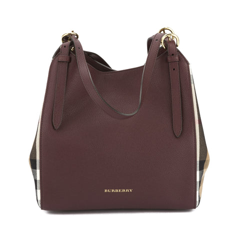 Burberry Mahogany Red Leather and House Check Small Canter Tote Bag (New with Tags)