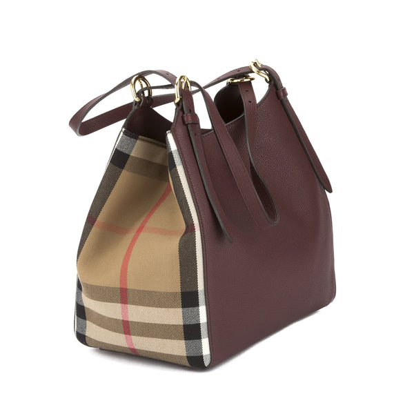 65d3e5623c23 Burberry Mahogany Red Leather and House Check Small Canter Tote Bag (N -  3315002