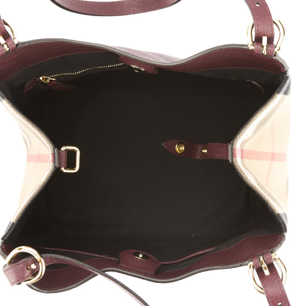 d21105982449 ... Burberry Mahogany Red Leather and House Check Small Canter Tote Bag (New  with Tags) ...