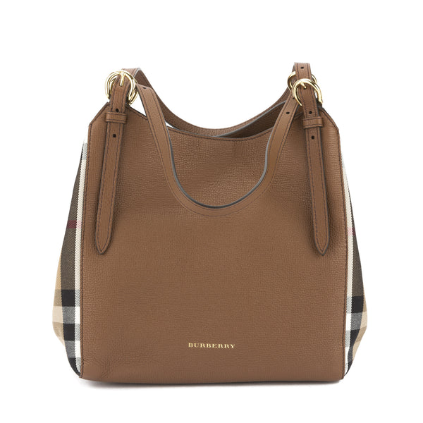 9fcf55f195e7 Burberry Tan Leather and House Check Small Canter Tote Bag (New with ...