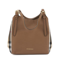 Burberry Tan Leather and House Check Small Canter Tote Bag (New with Tags)