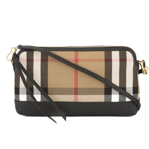 Burberry Black Leather and House Check Abingdon Clutch Bag (New with Tags)