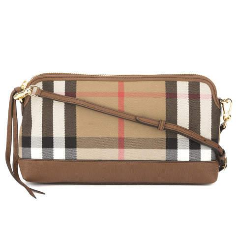 Burberry Tan Leather and House Check Abingdon Clutch Bag (New with Tags)