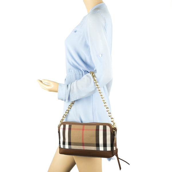 13f7c03cdd ... Burberry Tan Leather and House Check Abingdon Clutch Bag (New with Tags)