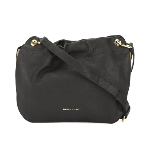 Burberry Black Grainy Leather and House Check Bingley Crossbody Bag (New with Tags)