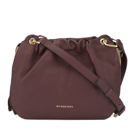 Burberry Mahogany Red Grainy Leather and House Check Bingley Crossbody Bag (New with Tags)