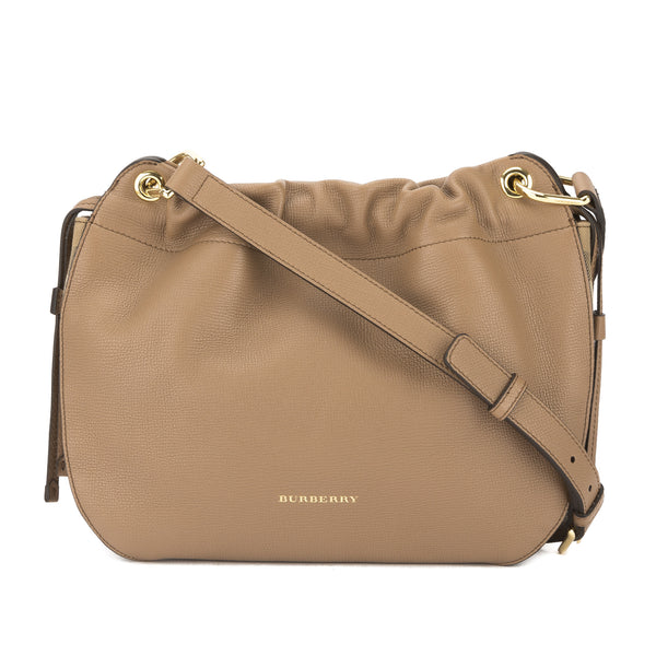 85b42685c10c Burberry Dark Sand Grainy Leather and House Check Bingley Crossbody Bag New  with Tags