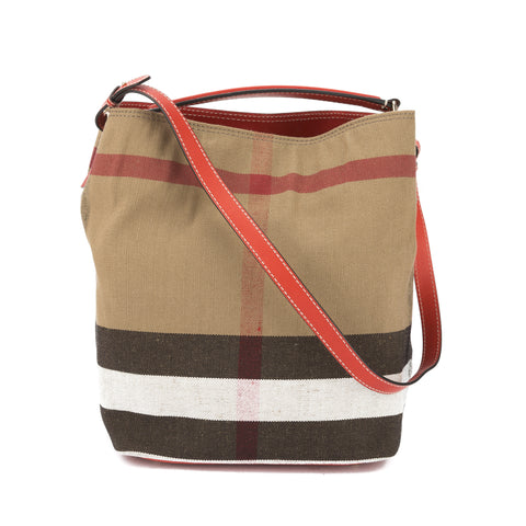Burberry Cadmium Red Leather and Canvas Check Medium Ashby Bag (New with Tags)