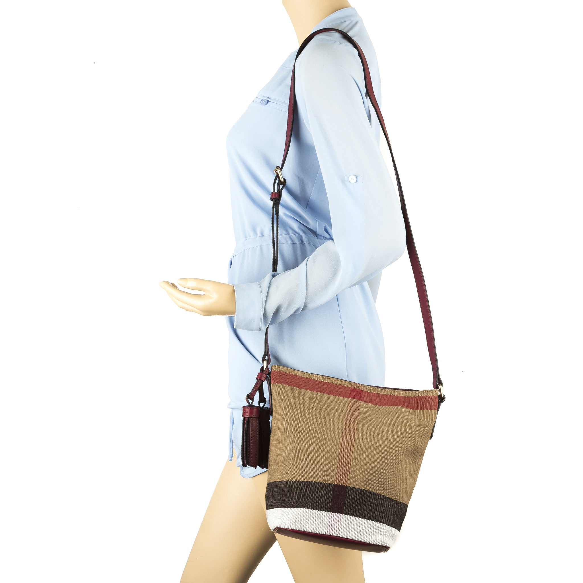 c7133e01382 Burberry Burgundy Red Leather and Canvas Check Small Ashby Bag (New ...