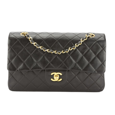 Chanel Black Quilted Lambskin Leather Double Flap Chain Bag (Pre Owned)