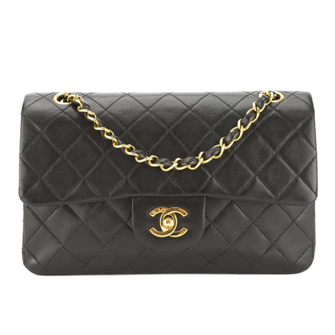 Chanel Black Quilted Lambskin Leather Matelasse Double Flap Bag (Pre Owned)