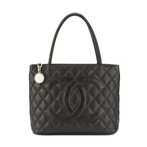 Chanel Black Caviar Leather Medallion Tote Bag (Pre Owned)