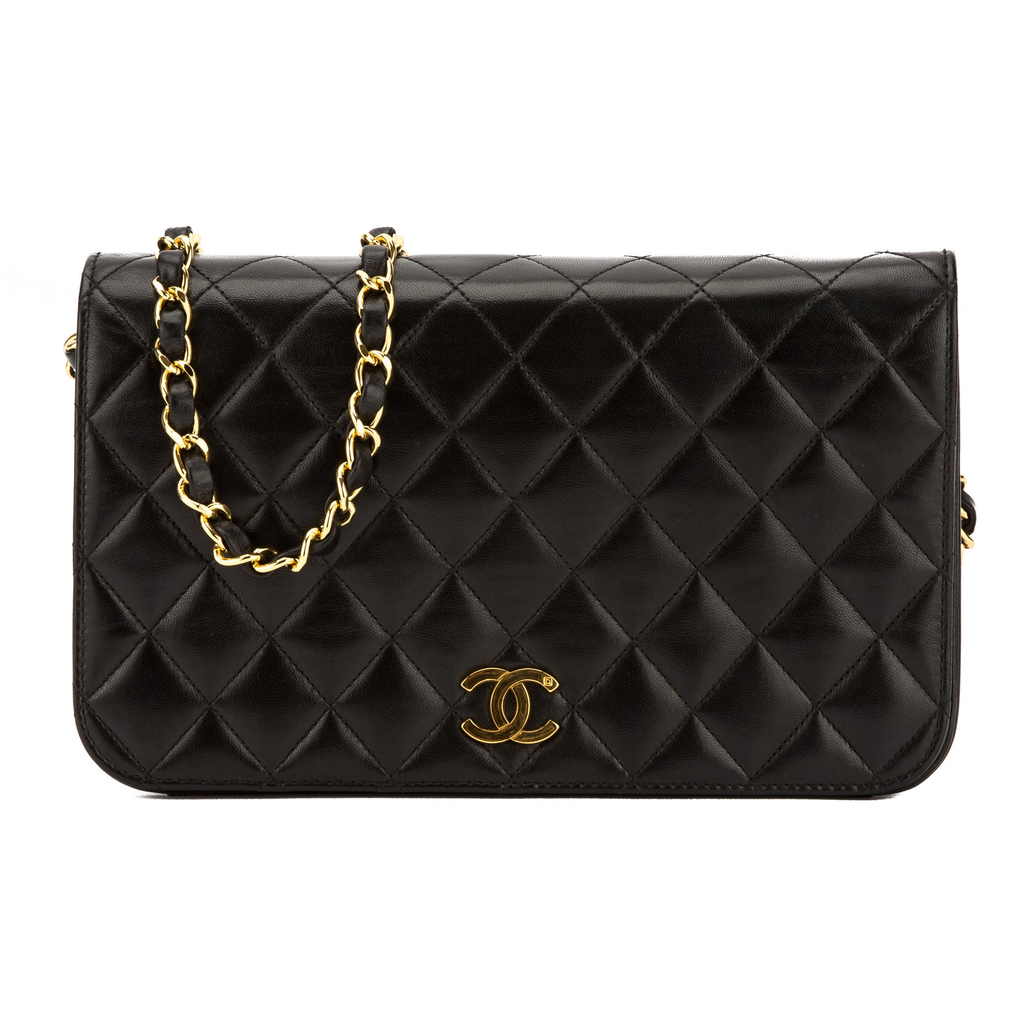 bbd54554703a Chanel Black Quilted Lambskin Leather Small Single Flap Bag Pre Owned