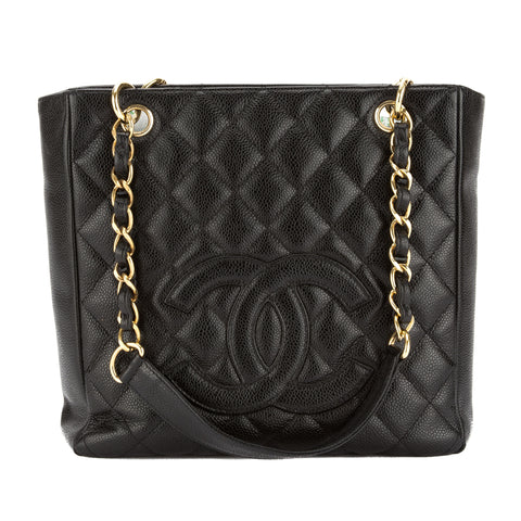 Chanel Black Quilted Caviar Leather Petit Shopping Tote PST Bag (Pre Owned)