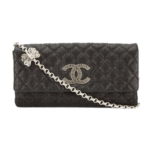 Chanel Black Quilted Metallic Fabric Shoulder Bag (Pre Owned)