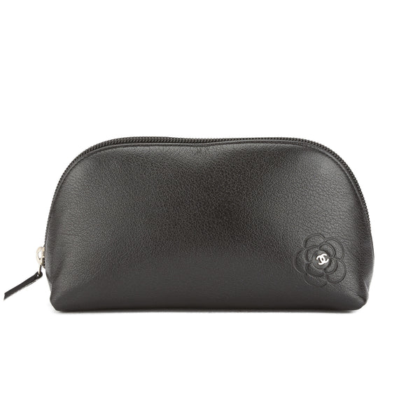 5e16db02ed8b Chanel Black Goatskin Leather Camellia Butterfly Pouch (Pre Owned ...