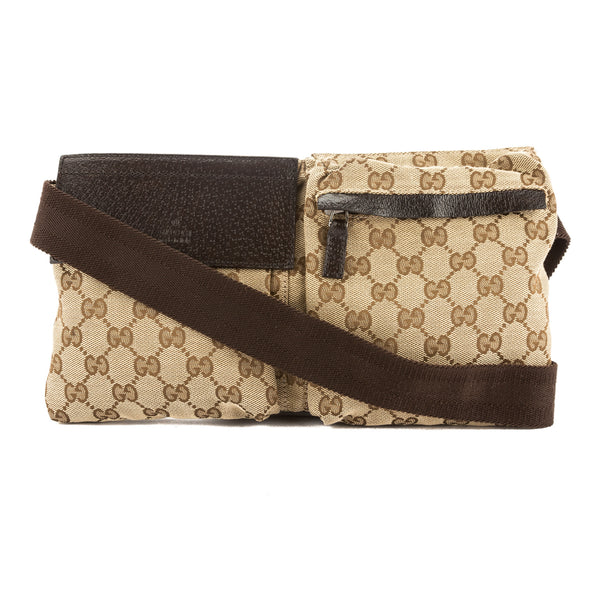 Gucci Beige and Ebony Original GG Canvas Belt Bag (Pre Owned)