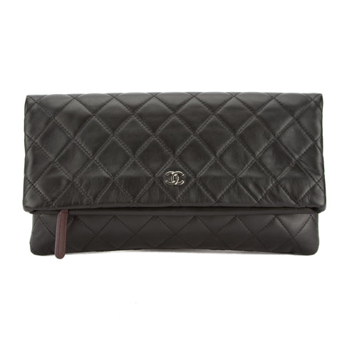 Chanel Black Quilted Lambskin Leather Matelasse CC Mark Clutch Bag (Pre Owned)