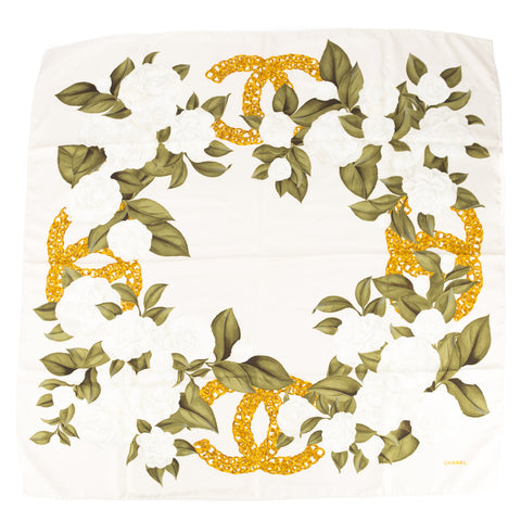 Chanel Beige Silk Floral Print Scarf (Pre Owned)