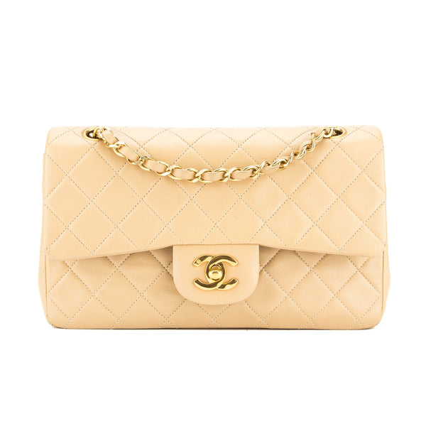 0e1c67e8eb7d Chanel Beige Quilted Lambskin Leather Small Double Flap Bag Pre Owned