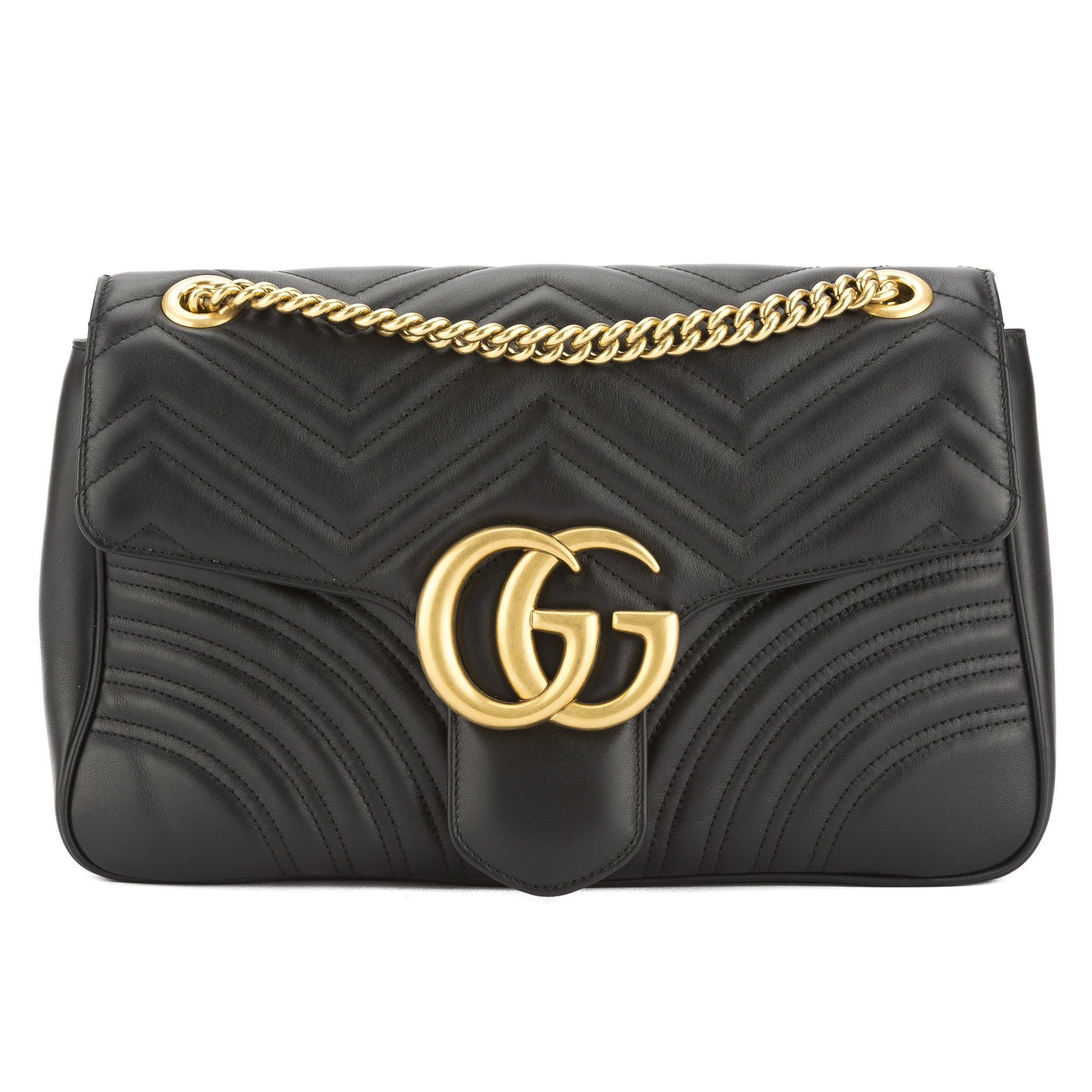 bf7e35b89d1 Gucci Black Leather GG Marmont Matelasse Shoulder Bag (New with Tags ...