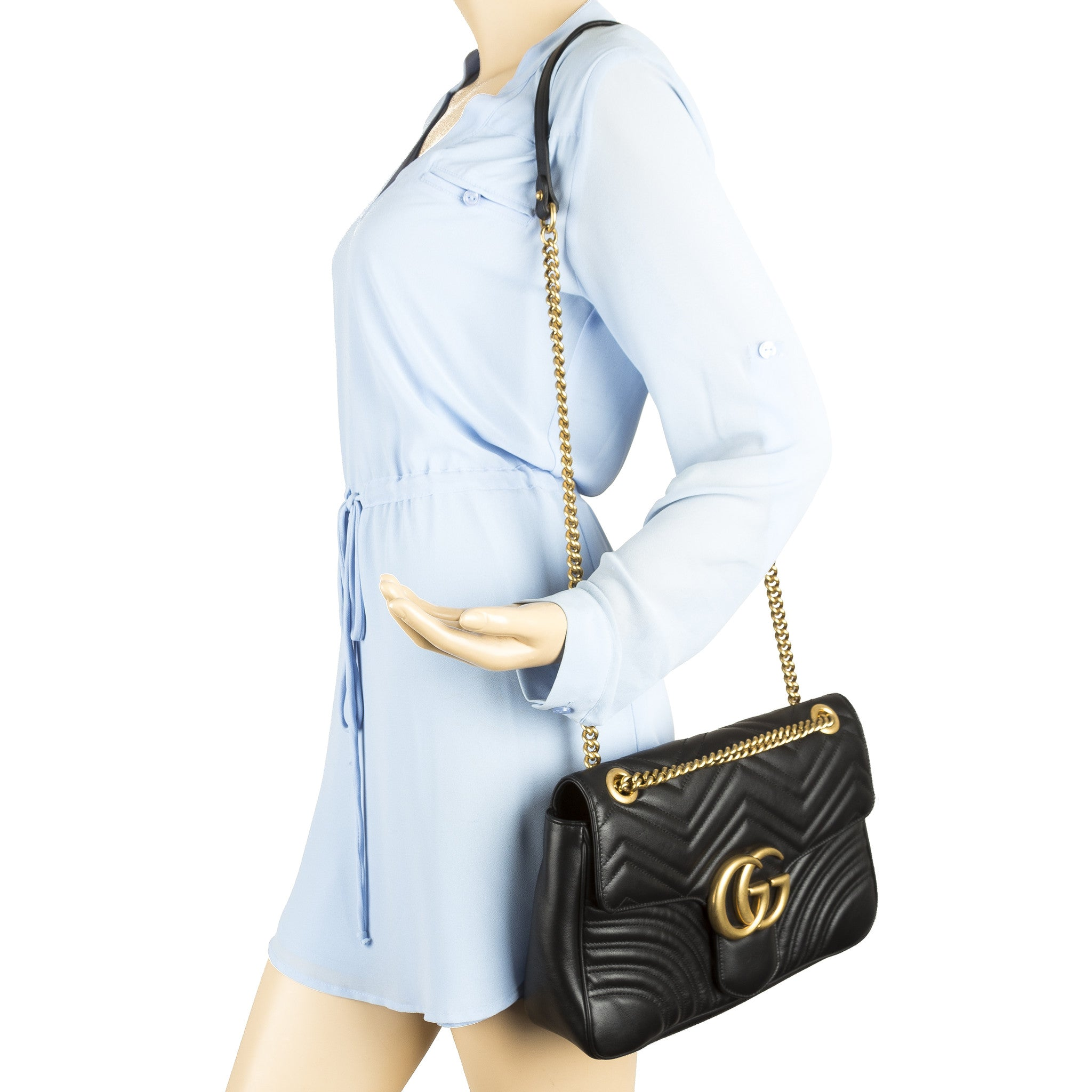 4df28a2fd765a9 Gucci Black Leather GG Marmont Matelasse Shoulder Bag (New with Tags ...