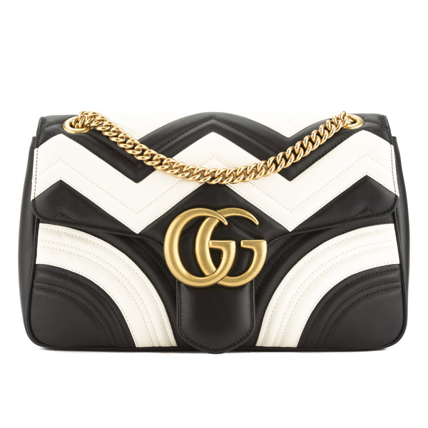 dfccd8eafd5b Gucci Black and White Leather GG Marmont Chevron Shoulder Bag New with Tags