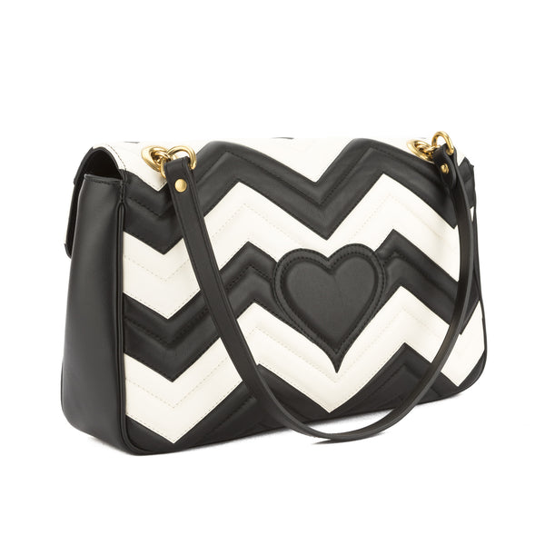 3bc2c7ef49f0 Gucci Black and White Leather GG Marmont Chevron Shoulder Bag New with Tags