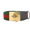 Gucci Green and Red Canvas Web Belt with Bee Buckle (New with Tags)