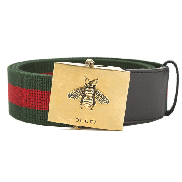06f60cb35 Gucci Green and Red Canvas Web Belt with Bee Buckle (New with Tags ...
