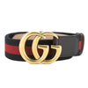 Gucci Blue and Red Nylon Web Belt with Double G Buckle (New with Tags)